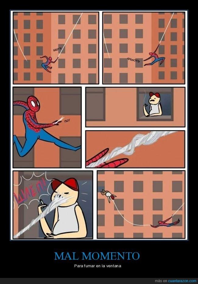 fumando,spiderman,telaraña,ventana