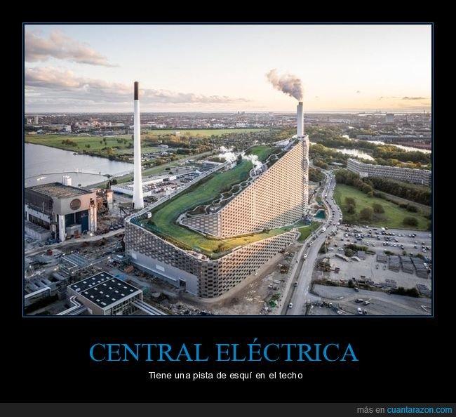 central eléctrica,copenhague,pista de esquí,techo