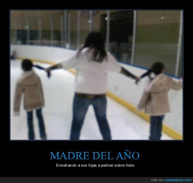 coletas,hijas,madre,madre del año,patinar sobre hielo