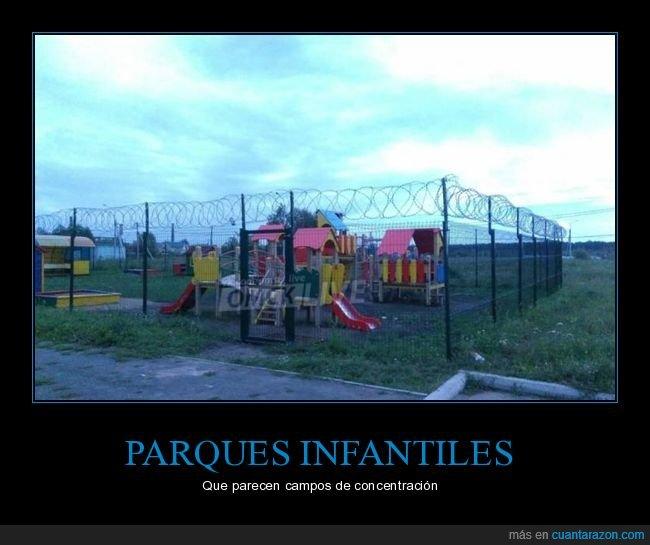 alambre de espinos,campo de concentración,parque infantil,vallas