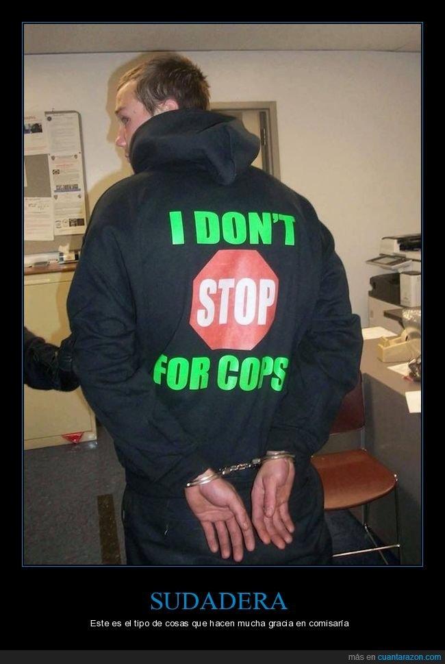arrestado,fail,parar,policía,sudadera
