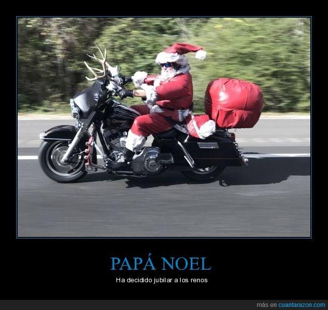 moto,papá noel,renos