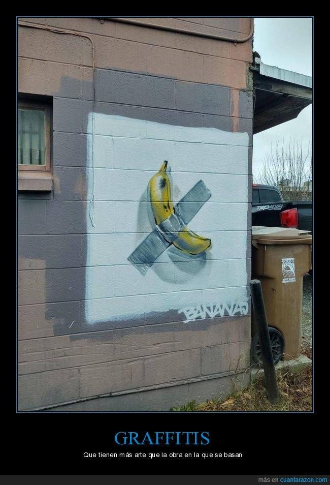 cinta adhesiva,graffiti,plátano