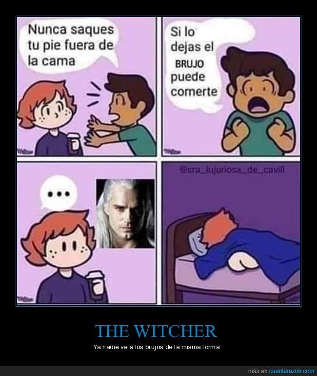 brujo,cama,comer,fuera,pie,sacar,the witcher