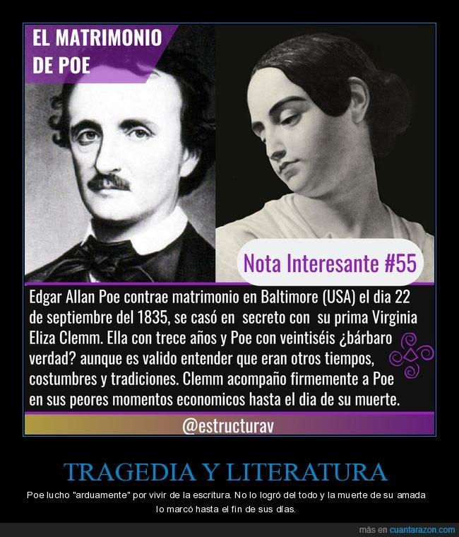 literatura,matrimonio,muerte,poe,tragedia