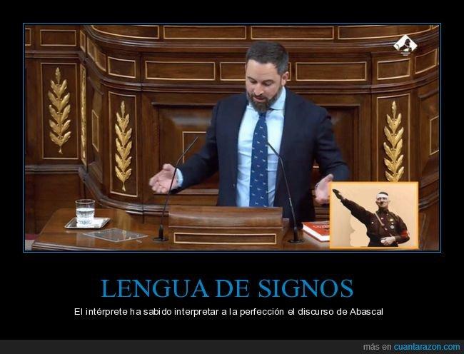 intérprete,lengua de signos,políticos,santiago abascal