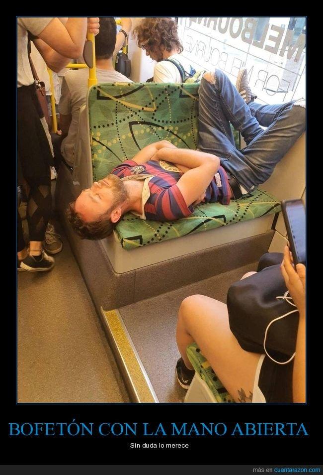 asiento,autobús,durmiendo,postura