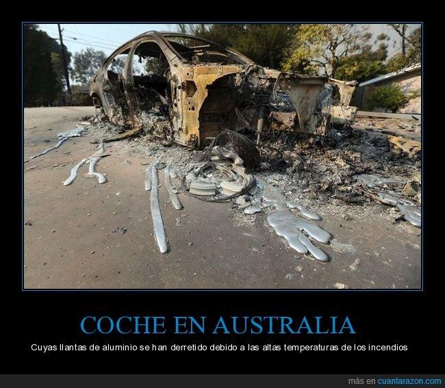 australia,coche,derretidas,incendios,llantas