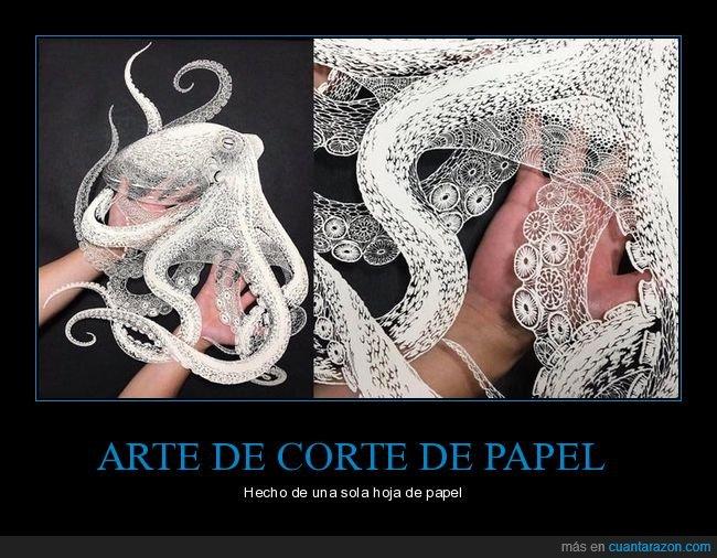 arte,corte,hoja,papel,pulpo