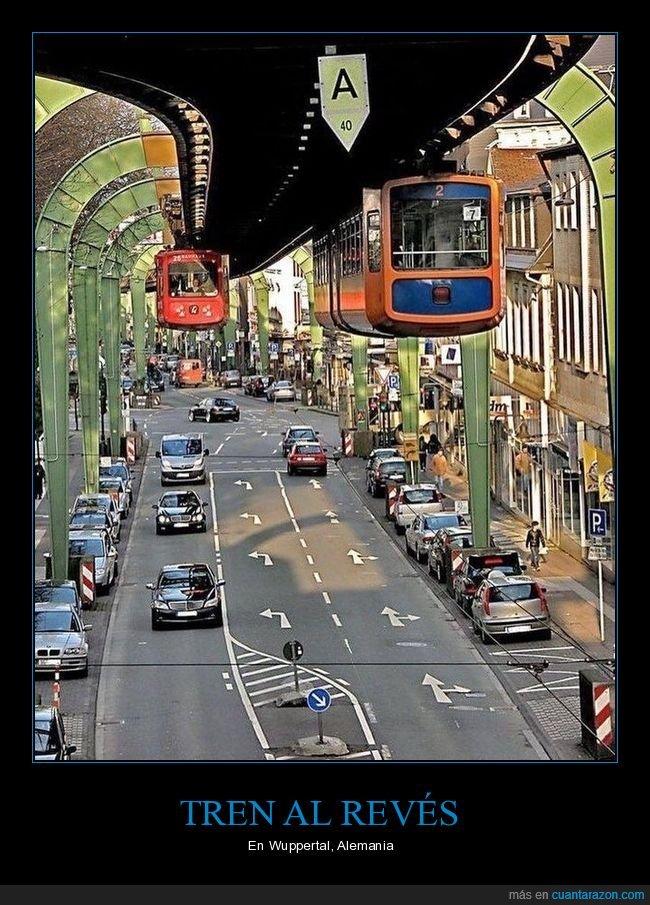 al revés,alemania,monorail,suspendido,tren,wuppertal