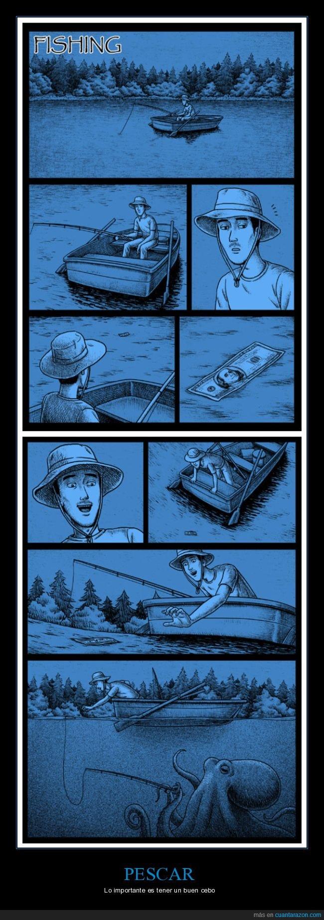billete,pescando,pulpo