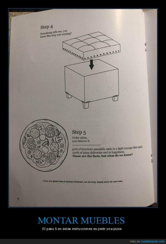 instrucciones,montar,muebles,pedir,pizza