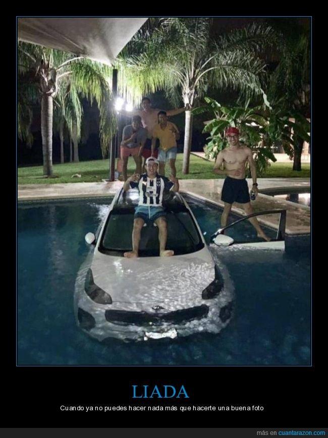 coche,fails,piscina