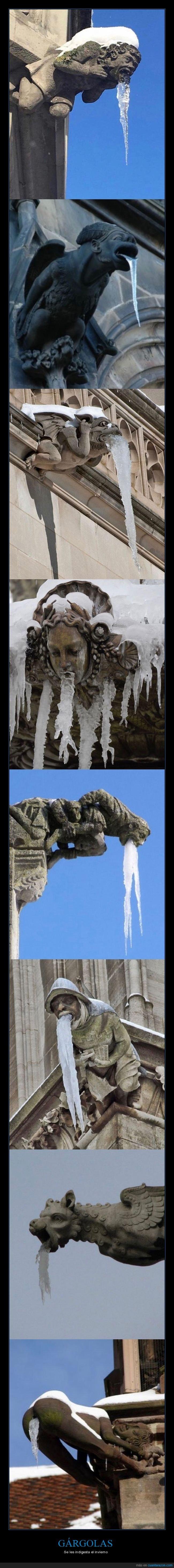 gárgolas,hielo,invierno