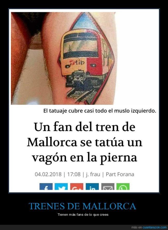 fan,mallorca,pierna,tatuaje,tren,vagón,wtf