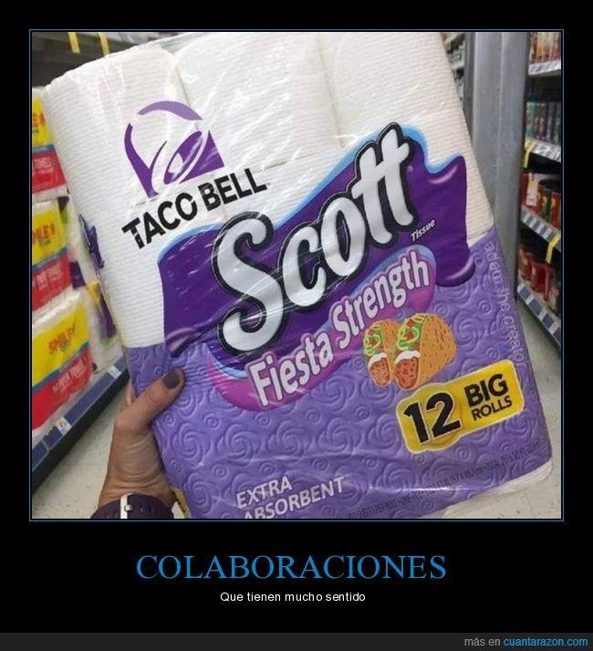 colaboración,papel higiénico,taco bell,tacos
