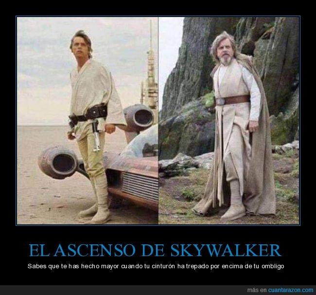 ahora,antes,cinturón,luke skywalker,star wars,viejo