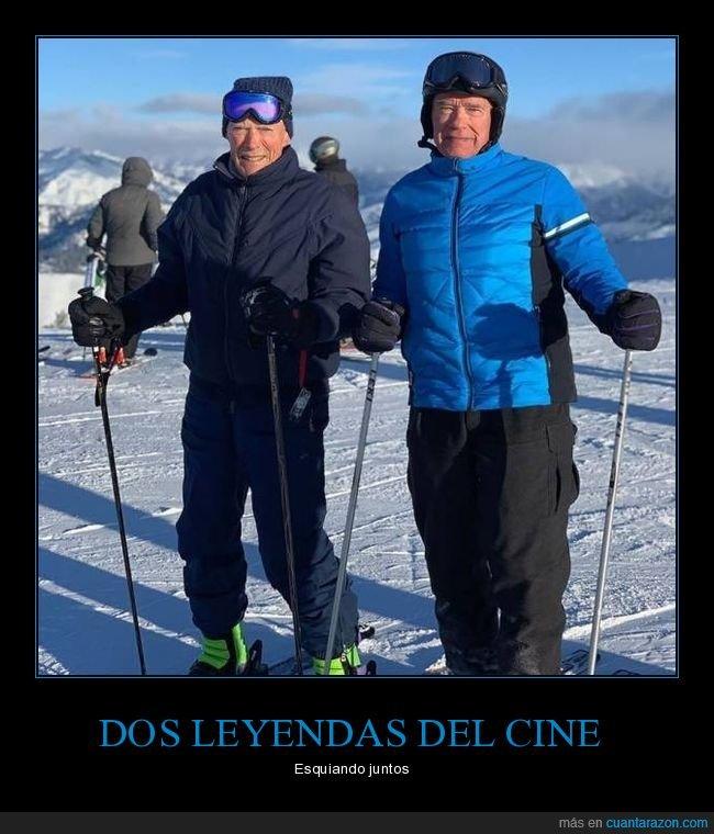 arnold schwarzenegger,clint eastwood,esquiando