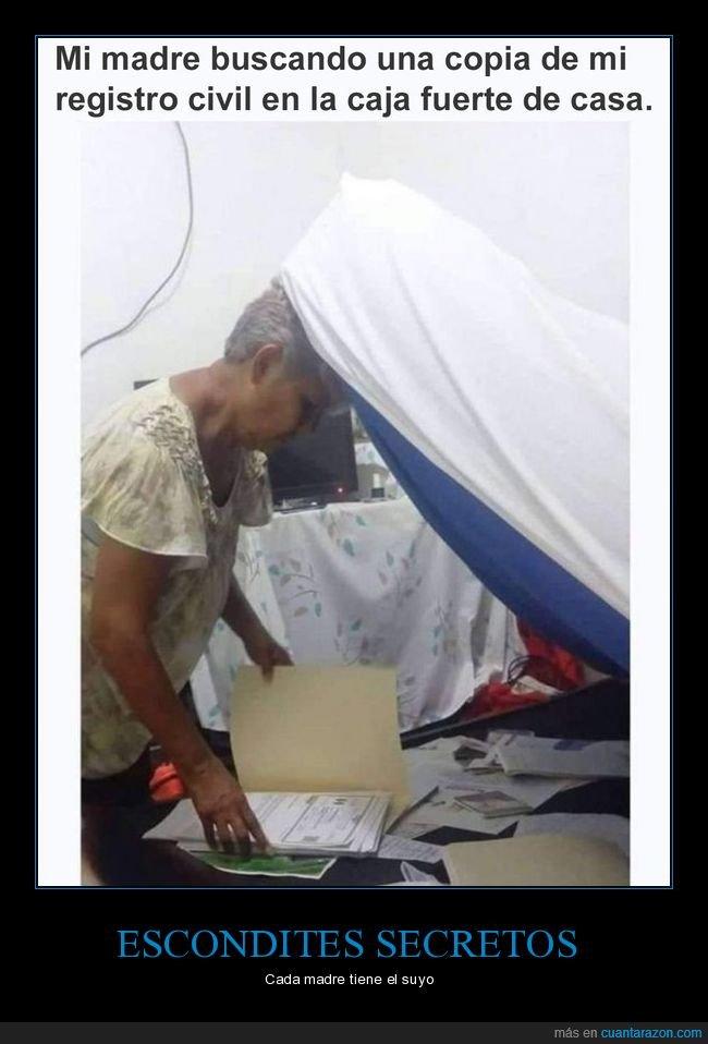 buscando,caja fuerte,colchón,madre,registro civil