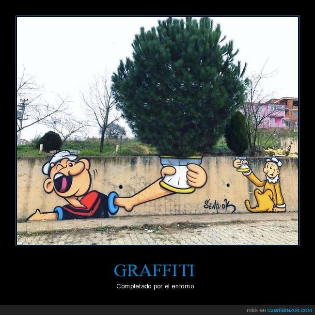 árbol,arte urbano,espinacas,graffiti,popeye