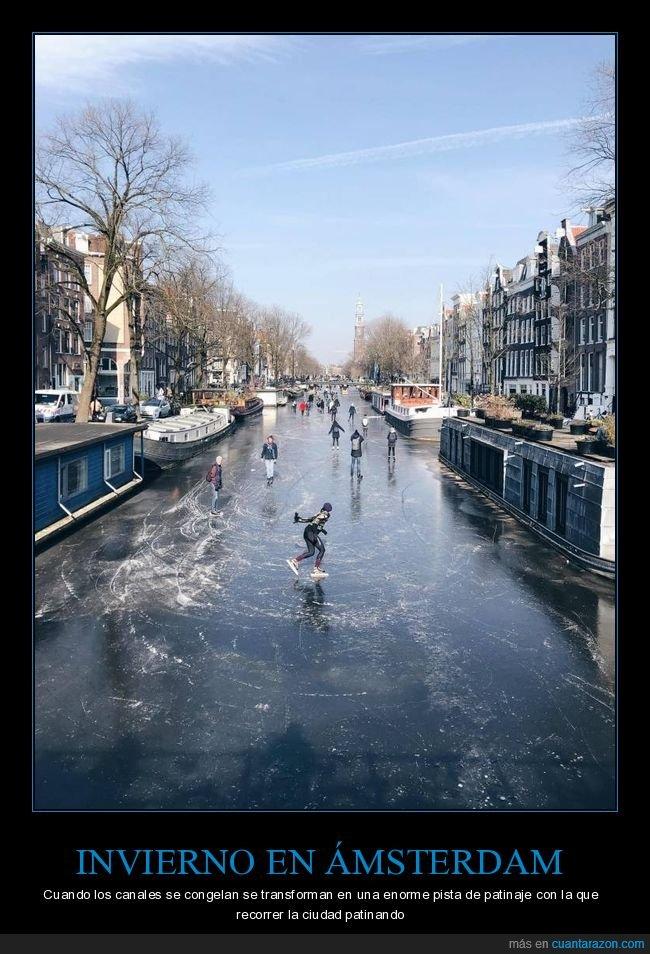 ámsterdam,canales,congelados,patinaje