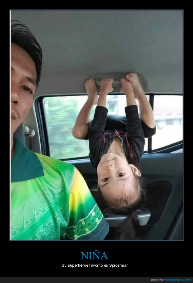 coche,niña,postura,spiderman