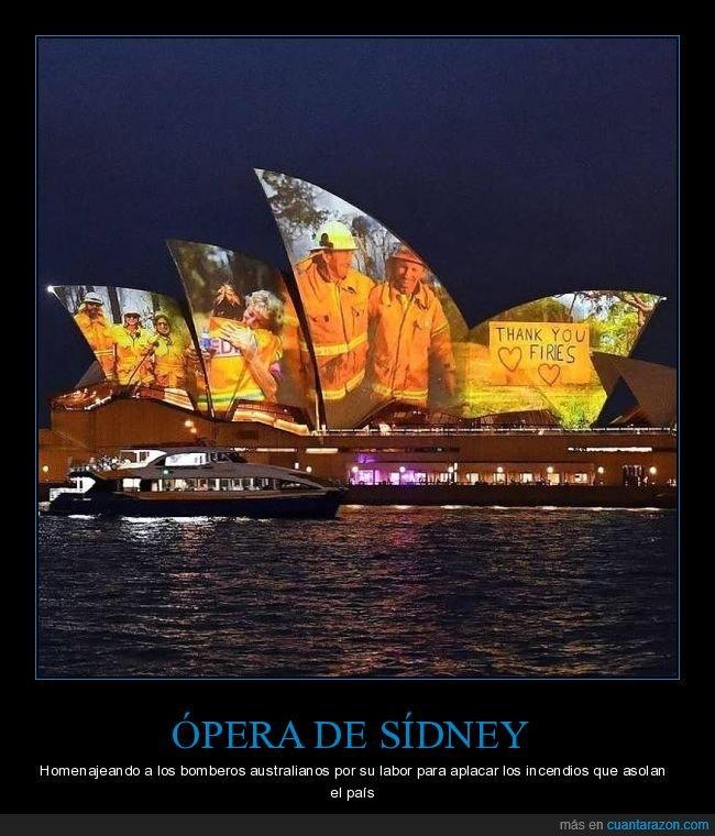 australia,bomberos,homenaje,incendios,ópera,sídney