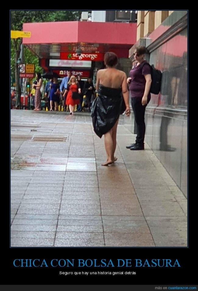 bolsa de basura,vestida,wtf