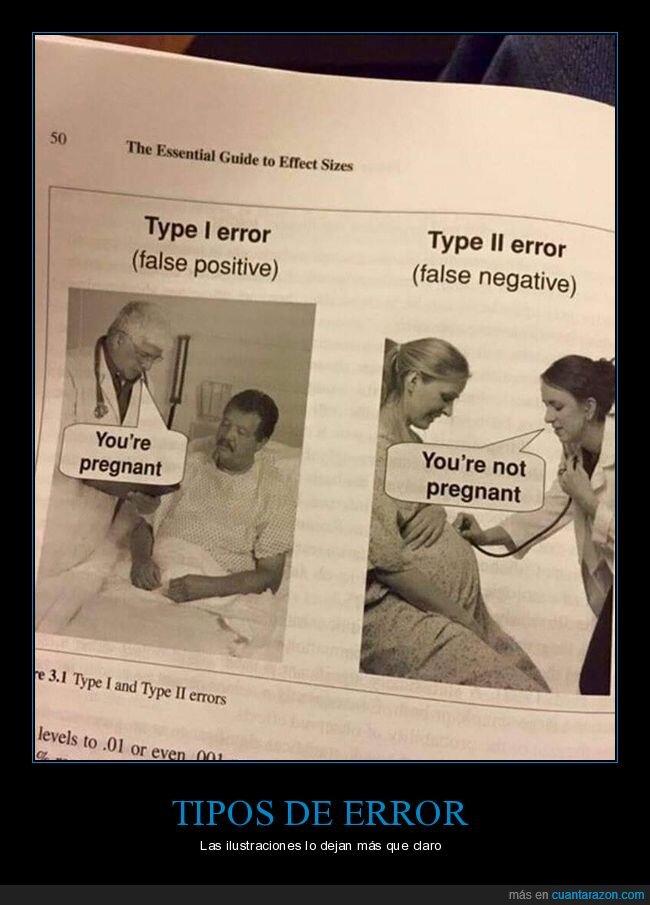 error,falso negativo,falso positivo,libro,tipos,wtf