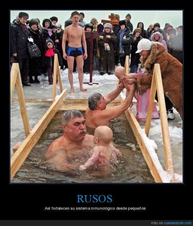 bañándose,bebés,frío,hielo,rusos