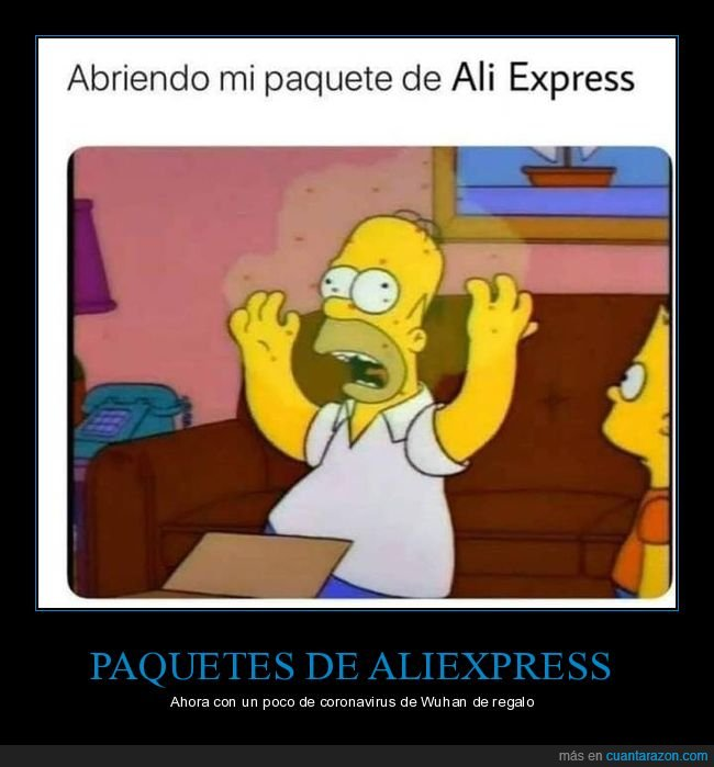 abriendo,aliexpress,homer,paquete,simpsons,virus,wuhan