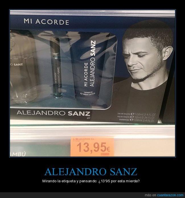 alejandro sanz,colonia,etiqueta,mirando,precio