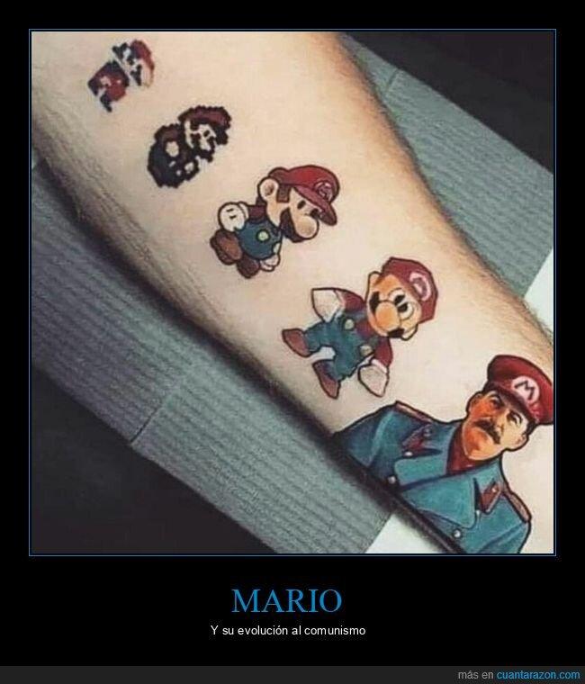 evolución,mario,stalin,tatuaje,wtf