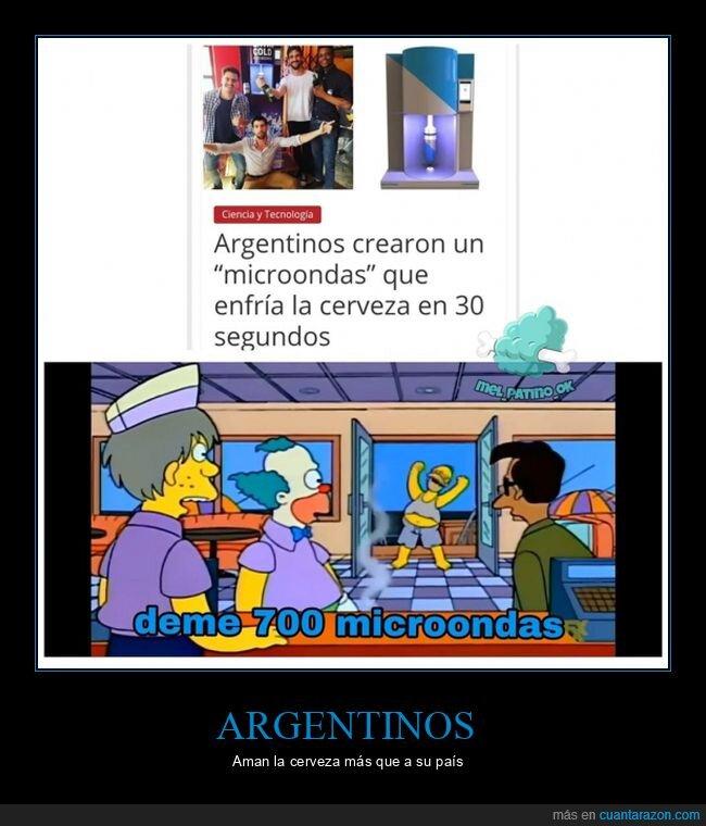 argentinos,cerveza,enfriar,invento,microondas