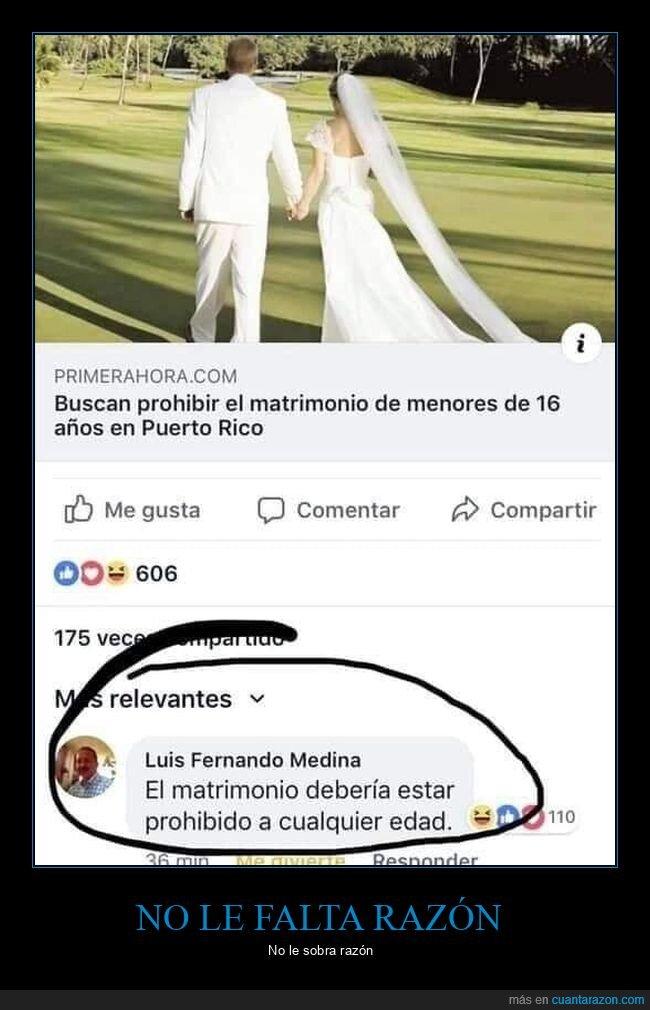 comentario,facebook,matrimonio,prohibir