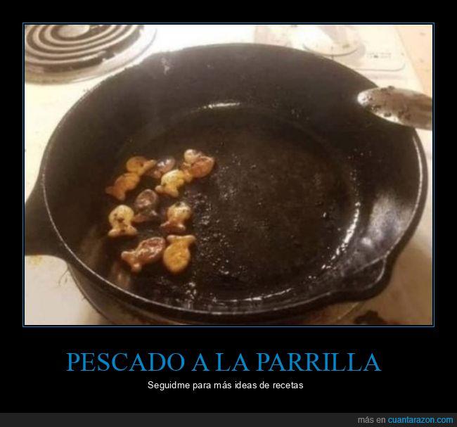 pan,parrilla,pasta salada,pececillos,pez,sartén