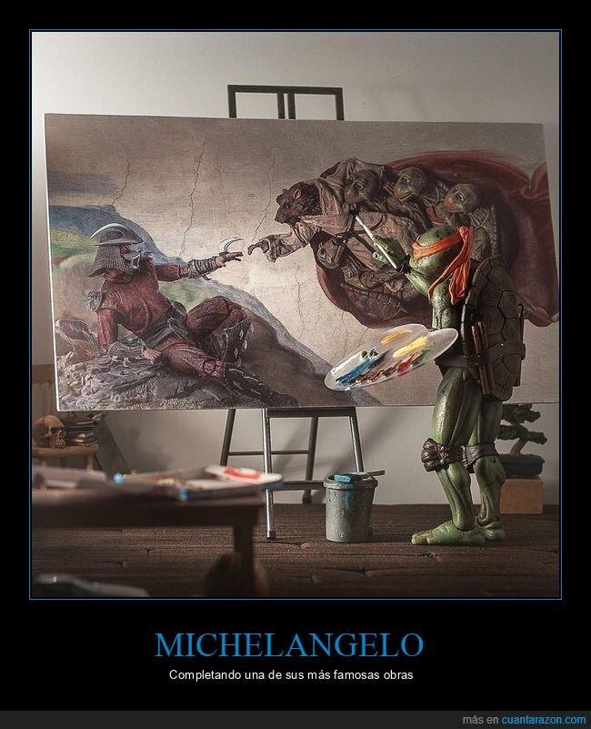 la creación de adán,michelangelo,shredder,splinter,tortugas ninja