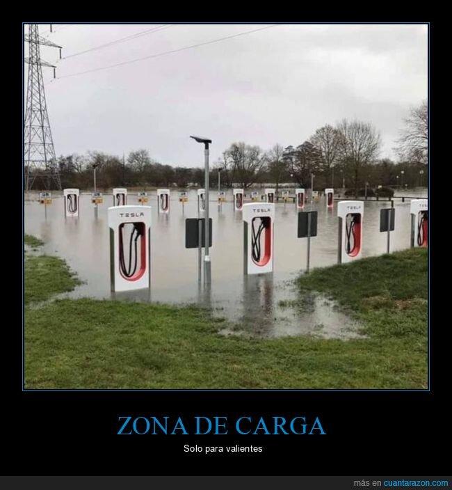cargadores,inundación,tesla,wtf