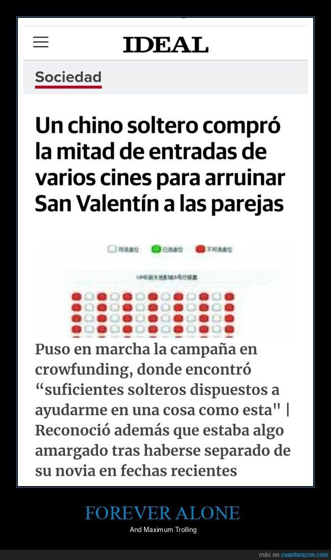 chino,cines,comprar,entradas,parejas,san valentín,soltero,trolling