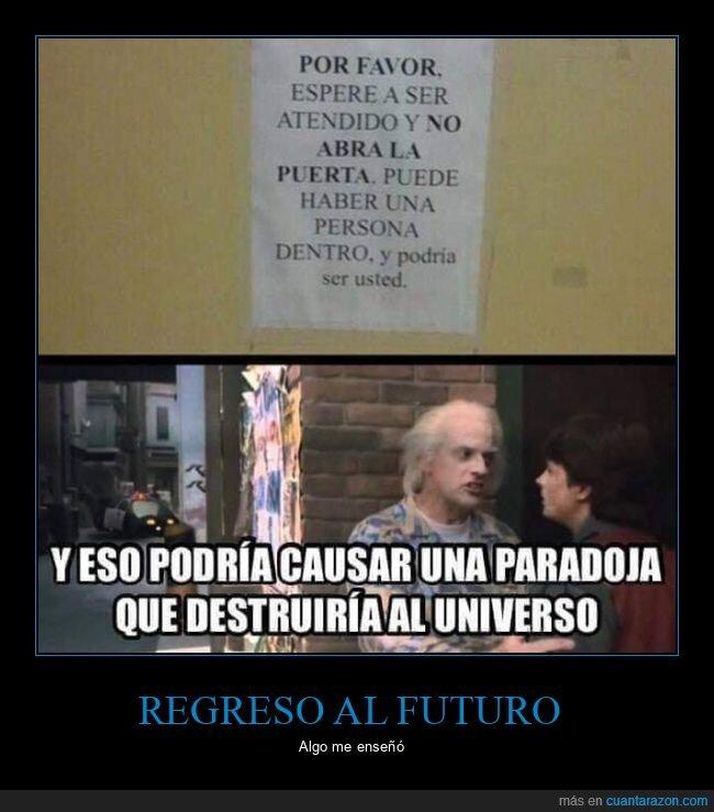 abrir,cartel,paradoja,puerta,regreso al futuro