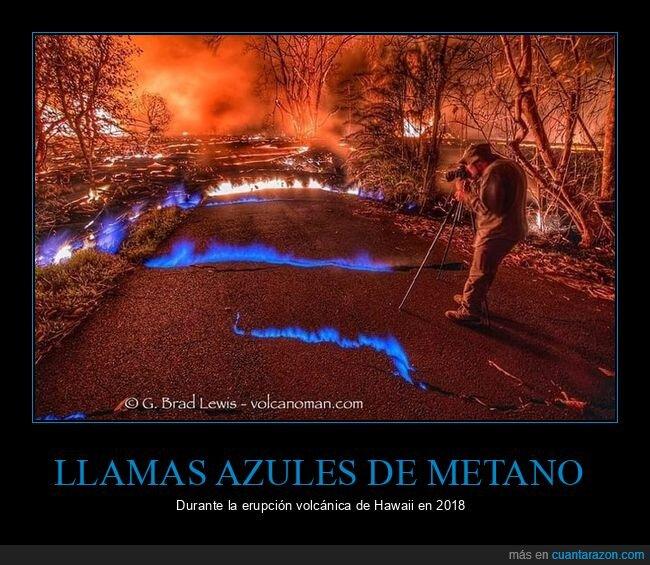 azules,erupción,hawaii,llamas,metano,volcán