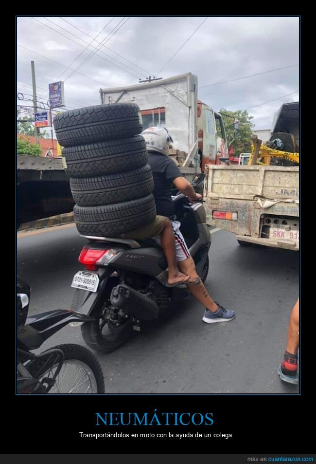 moto,neumáticos,transportando