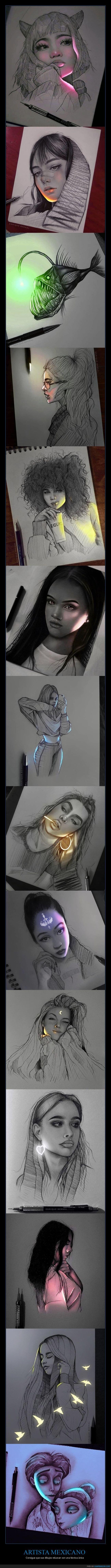 artista,dibujos,relucir,técnica