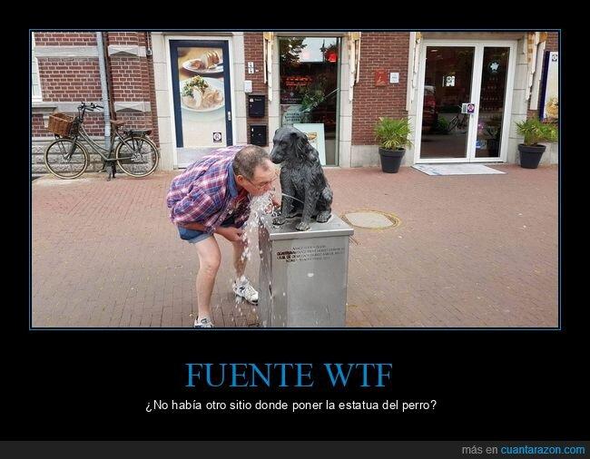estatua,fuente,perro,wtf