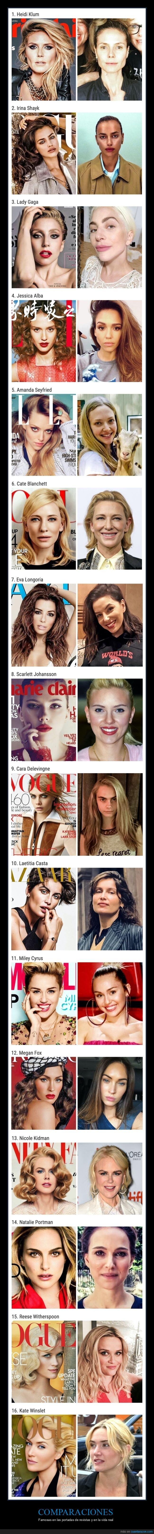 comparaciones,famosos,revistas,vida real