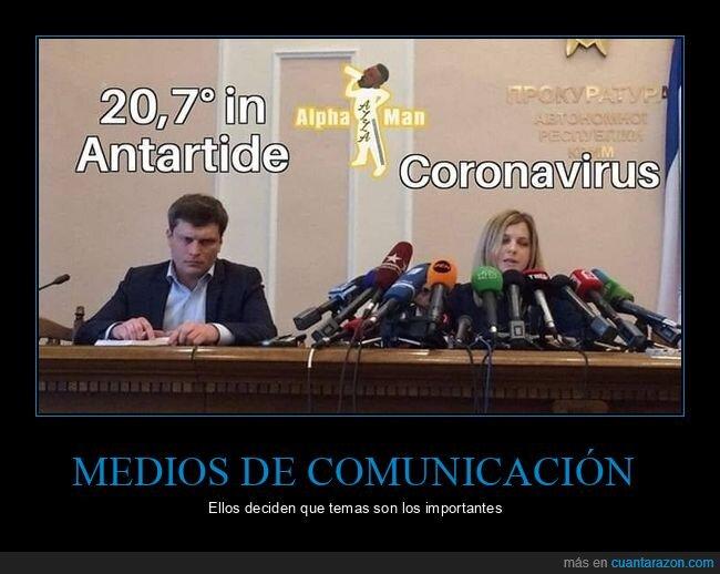 antártida,calentamiento global,coronavirus,medios,micrófonos,temperatura