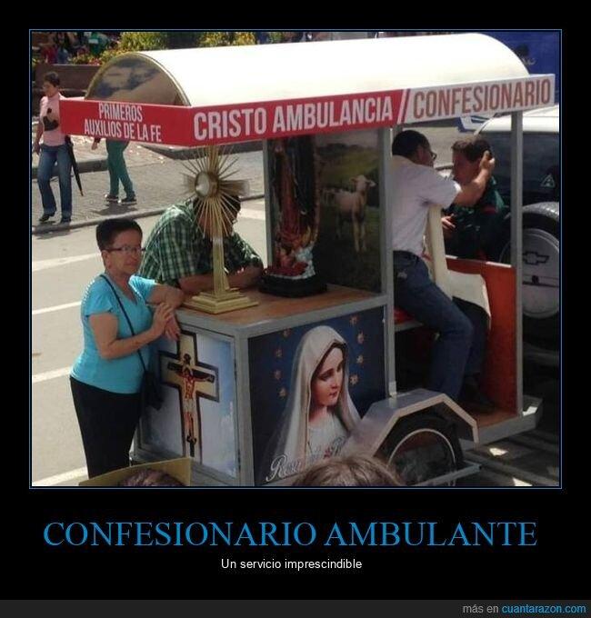 confesionario,cristo ambulancia,wtf