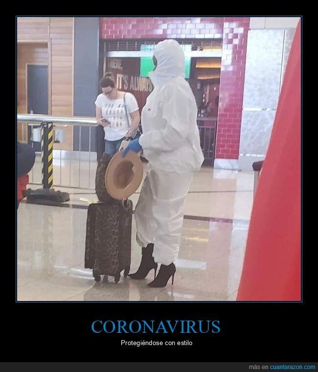coronavirus,protección,tacones,traje,wtf