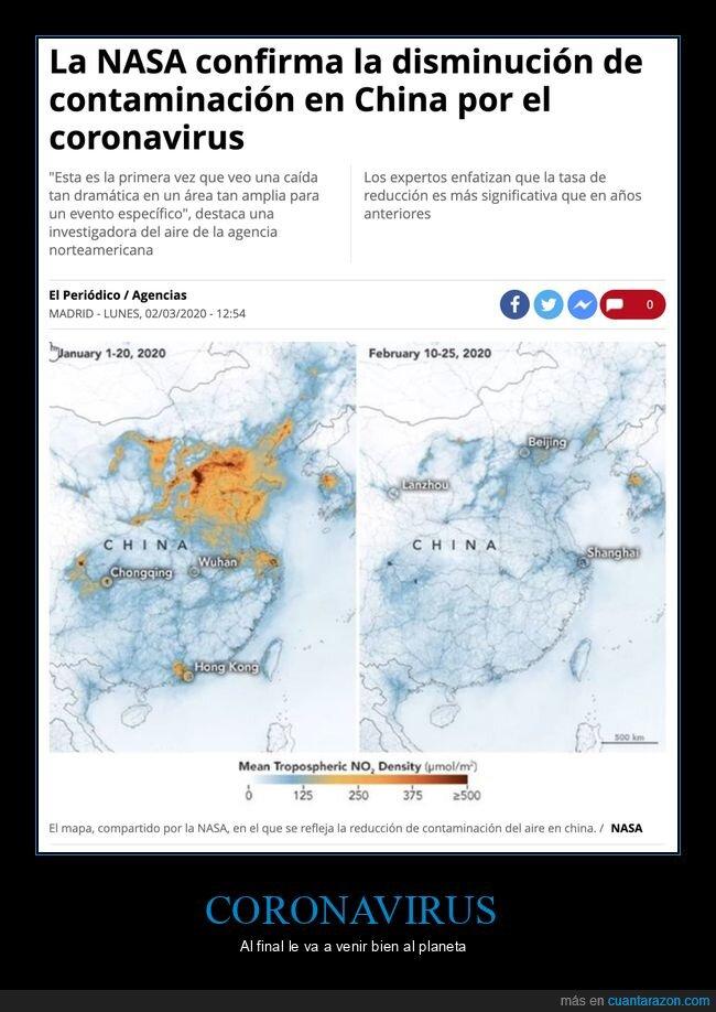 china,contaminación,coronavirus,disminución,nasa