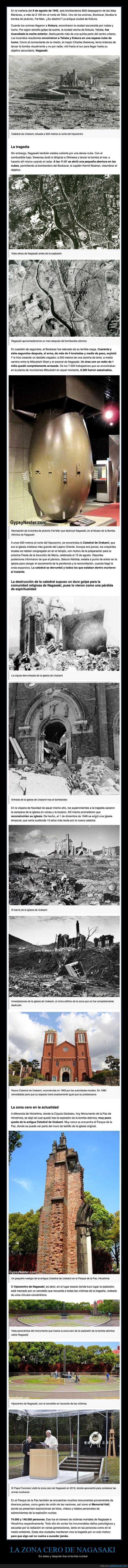 antes,bomba nuclear,después,nagasaki,zona cero